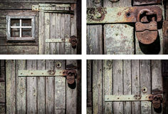 Rustic house wall background set. Decrepit wood house wall background set horizontal frames Royalty Free Stock Images