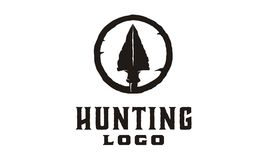 Hipster / Retro Hunting Logo Design Inspiration with arrowhead. Rustic Hunting symbol, good for your community. Could work as profile picture / icon Royalty Free Stock Photography