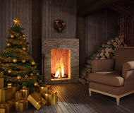 Rustic hut´s fireplace at christmas. Rustic christmas fireplace at night with tree, presents and couch Royalty Free Stock Photos
