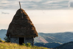 Rustic hut 2. Rustic hut, on the top of the Bedeleu mountain, used by peasants in the summers to keep their animals there over nights Royalty Free Stock Photos