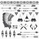 Rustic Indian Elements. A vector illustration of Rustic Indian Elements. Perfect for tribal, native america, culture, scrapbooks, Thanksgiving,  greeting card Stock Images