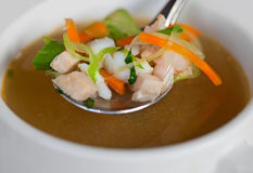 Rustic indonesian chicken soup. In a small bowl Royalty Free Stock Photo