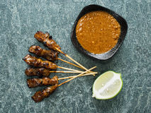 Rustic indonesian satay meat skewer Royalty Free Stock Photography