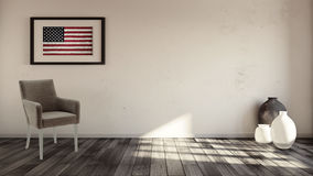 Rustic interior with usa flag framed on the wall royalty free stock photos
