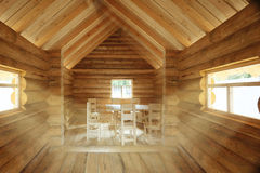 Rustic interior wooden house Stock Images