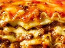 Rustic italian cheesy lasagna pasta. Close up of rustic italian cheesy lasagna pasta Stock Images