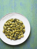 Rustic italian gnocchi in pesto sauce Stock Images
