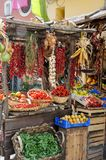 Rustic Italian market with with organic vegetables and fruits stock photography