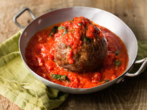 Rustic italian meatball in tomato sauce Royalty Free Stock Photography