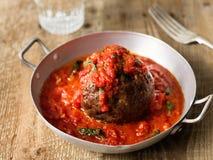 Rustic italian meatball in tomato sauce Royalty Free Stock Photos