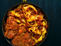 Rustic italian oxtail ragu pappardelle pasta Royalty Free Stock Photos