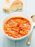 Rustic italian  pancetta onion pasta soup Royalty Free Stock Photo