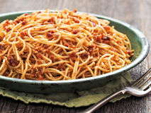 Rustic italian sicilian pesto spaghetti Royalty Free Stock Photos