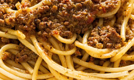 Rustic italian spaghetti bolognese food background Stock Images