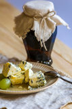 Rustic Jam Pot,blue Mold Cheese And Grapes Royalty Free Stock Image