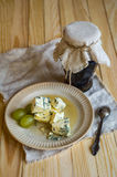 Rustic Jam Pot,blue Mold Cheese And Grapes Stock Photos