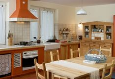 Rustic kitchen. Big kitchen in rustic style stock photography