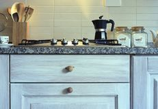 The rustic kitchen and the coffee royalty free stock photos