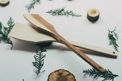 Rustic Kitchen Decoration with wooden cutlery. Country kitchen decoration. Royalty Free Stock Images