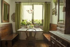 Rustic kitchen of a house full of antiques Stock Photo