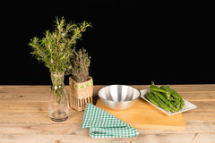 Rustic kitchen table Stock Images