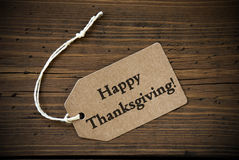 Rustic Label with Happy Thanksgiving Stock Image