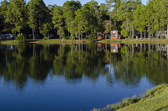 Rustic Lake Cabins in Florida royalty free stock photos