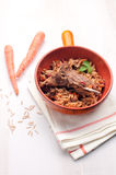 Rustic lamb and orzo with carrots Stock Photo