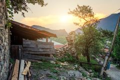 Rustic landscape somewhere in mountains. During sunset royalty free stock photos