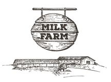 Rustic landscape style sketch. Vector image of a dairy farm. Retro illustration. vector illustration