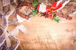 Rustic light boxes on wooden background with Christmas cane Stock Photo