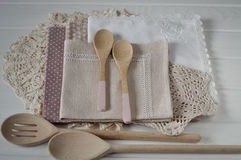 Rustic linen napkin Stock Images