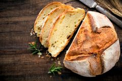 Homemade bread on rustic wooden background Royalty Free Stock Images