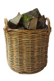 Rustic Log Basket with Firewood stock photography