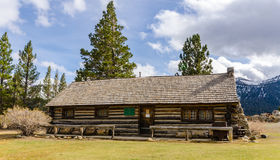Rustic Log Cabin. Authentic log cabin handcrafted by Mammoth Lakes, California pioneer Emmett Hayden. Now it's a historical museum Stock Photo