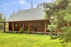 Rustic log cabin front porch exterior. Royalty Free Stock Photos