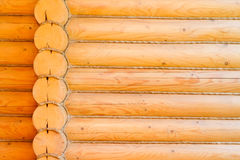 Rustic log cabin wall. In architecture Stock Photo