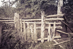 Rustic log fence Royalty Free Stock Photo