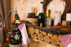 Rustic Log Mantle with Christmas Stockings Stock Image