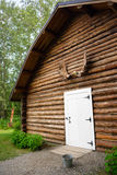Rustic Log Out Building Moose Antler Rack Alaska Outback Stock Photo