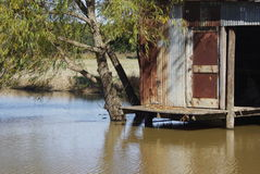 Rustic Louisiana. Rusted shack on an old crayfish pond fallen into disuse Stock Images