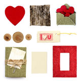Rustic love scrapbook elements collection i. Solated on white background Stock Photo