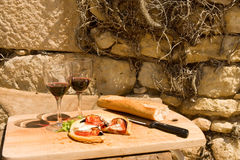 Rustic lunch in France Royalty Free Stock Photo