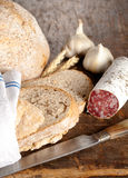 Rustic lunch with salami Royalty Free Stock Photo