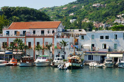 Rustic mediterranean port of Ischia Stock Photography
