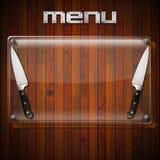 Rustic Menu Background - Glass Plate Stock Photo