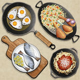 Rustic menu illustration. Retro, vintage style Chicken Thighs, Rice, Fried Eggs, Fish, Spaghetti, Frying Pan and one old Cutting Board realistic illustration Royalty Free Stock Images