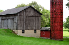 Rustic Michigan barn and silo Stock Photo