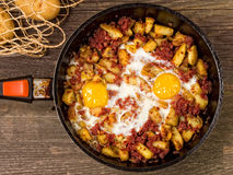 Rustic minced corned beef potato hash Royalty Free Stock Images