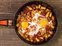 Rustic minced corned beef potato hash Royalty Free Stock Photo